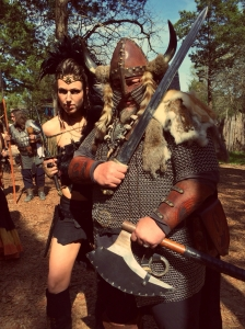 Yet, unlike this couple, real Viking warriors didn't wear horned helmets into battle or on their ships. Also, Viking women wore long skirts.