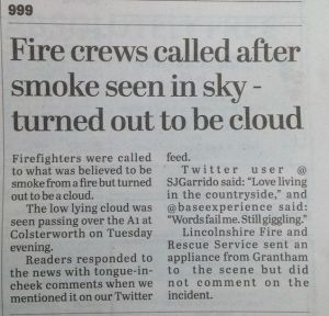 Apparently, these fire crews don't seem to know the difference between clouds or smoke. Then again sometimes it's hard to tell.