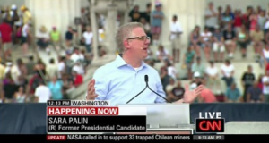 """This is just wrong on so many levels. For one, Sarah Palin is a former vice presidential candidate and her name is spelled with an """"h."""" Also, that's Glenn Beck."""