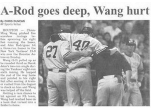 Yes, I know A-Rod and Wang are baseball players. But the headline is so suggestive for some reason.