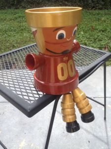 Yes, this is an FSU flower pot person who's made from flower pots. And yes, it's certainly adorable.