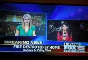 "I think it's supposed to be ""Home Destroyed by Fire."" Obviously someone got the word order wrong. Because homes don't destroy fires."
