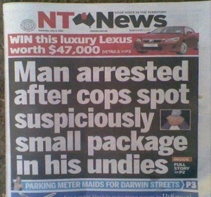 I guess the package seemed to contain something like drugs. Still, it reads like the guy was shot for not being well endowed.
