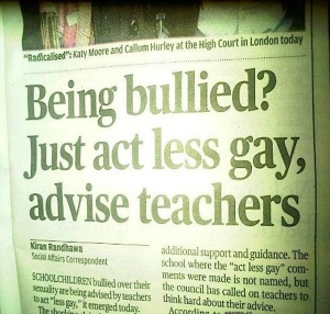 "This is pretty insulting because how could you act less gay? Besides, what do they mean by ""acting gay?"" It doesn't make sense."