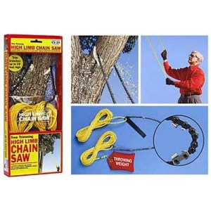 Now you can cut high limbs from a tree without having to worry about risking serious injury. At least not as much than having to do it with a ladder.
