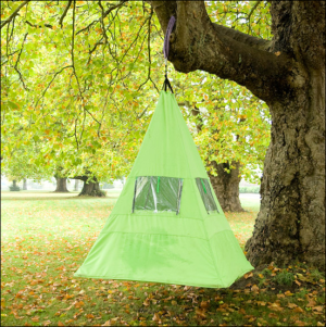 Unlike the other tree tent I showed you, you don't set it down with ropes. Also called the Trepee.