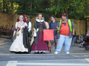 Kind of find this image pretty funny. Of course, these women have it easy compared to real Renaissance women. Because they'd have to cross dirt roads with shit all over them.