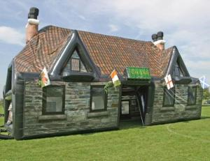 Yes, this is an inflatable Irish pub tent. May not give you authentic Irish cuisine. But it sure has the look nailed flat.