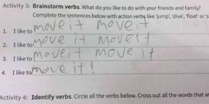 Guess this kid couldn't get that song out of their head. You've probably read it like that, too.