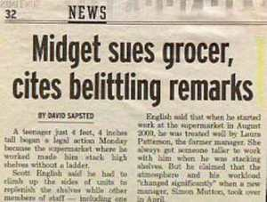 "Somehow this paper isn't helping its case by using the term ""midget."" Dwarves find the term derogatory."