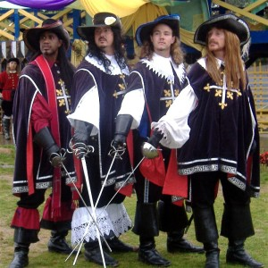 Sure they're dressed like you'd see in The Three Musketeers. But still, we all know that book should be called Four Guys with Swords.