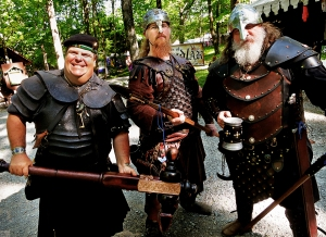 Well, at least these guys look like plausible Vikings. Because their helmets don't have horns. Not so sure about the guy in the tam.