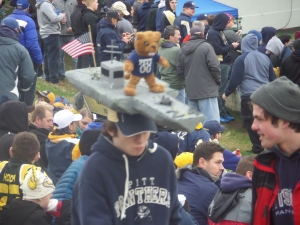 This guy seems to have a Pitt Panther on an aircraft carrier. Hate to sit behind him or stand.