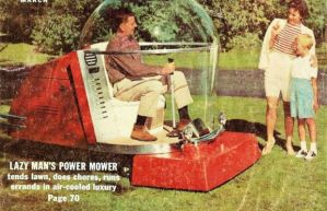 This is from a vintage image as you can see. Has a rather futuristic design with the dad in the bubble.