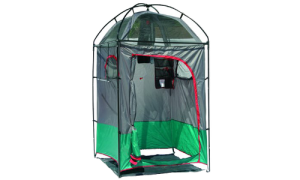 This is a portable camp shower as you can see. So if you want a place for your portable shower, it's got you covered.