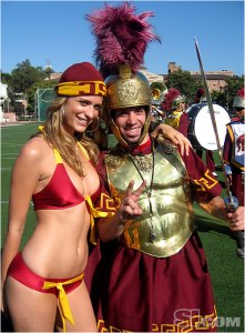 Funny, I hadn't had California college fans on here yet. But while one is in a swimsuit, the other is in hoplite armor.