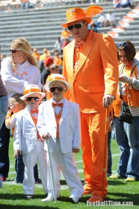 But whether I approve of this Tennessee Volunteers fan and his sons wearing gangster outfits is another matter. Still, they seem rather well dressed despite the dad resembling a creamcicle.