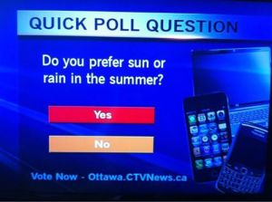 Sorry, but that's no way to conduct a poll. Sun or rain should be the answers not yes or no. Because it's not a yes or no question. Get a grip, Canada.