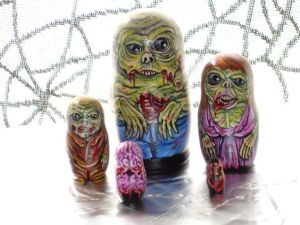 Man, these zombie nesting dolls surely look hideous. Doesn't help that it has a bloody brain.