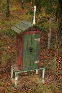 Because this mailbox apparently resembles an old wooden outhouse. And it has a spider on it.