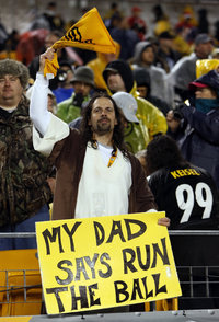 Okay, it's a Steeler fan dressed like Jesus. But I know a lot of Christians won't like this, especially if they're from Dallas, Cincinnati, Baltimore, New England, or anywhere outside Pittsburgh.