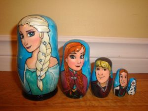 Various Russian Nesting Nesting Doll Girls Lime Hand Painted Decor 1