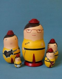 This 1980s band was best recognized by their trademark hats. So doing a nesting doll set of the lineup wasn't difficult.