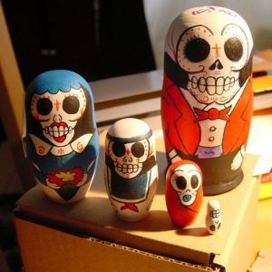 Each one is depicted as skulls as specified. Make great decorations on any Mexican shelf.