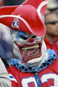 Well, I'm not sure if Stephen King even cares about NFL football. But he did write at least one story featuring a killer clown. And he is from New England. So it fits.