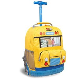 It even has a handle so the kid could drag it if he or she has a bad back. Still, like the school bus motif. So adorable.