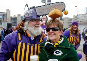 There's another guy who wears a chainsaw hat for Dallas. But I think the one pertaining to Green Bay is funnier.