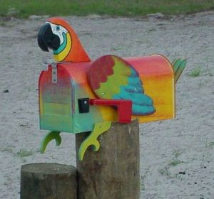 Though this is a colorful parrot mailbox. Wouldn't want to see it get smashed.
