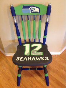 Yes, it's a Seahawks dining chair. Don't ask me how I managed to find so many Seahawks stuff. They just seem to have a lot on Pinterest.