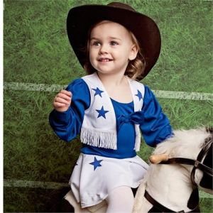 "From Bustle: "" If you had aspirations to audition to be a DCC (Dallas Cowboy Cheerleader) but didn't make the cut, no need to worry. You can start training your baby girl with her very own mini-version of the iconic uniform."""