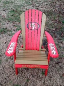 Another wooden masterpiece. Just a lawn chair painted with colors belonging to the 49ers which fans might want to have.