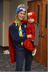 Then again, Super Grover is a superhero who's bad at being one. Still, this mommy and baby costume is too much.