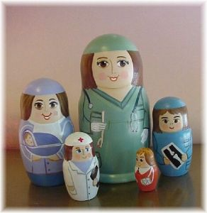 Notice how each nurse is dressed in a different way. And how each one of them handles different things.