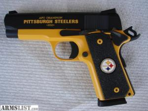 Okay, NFL coffins are one thing. But NFL handguns, well, that's completely fucked up. Seriously, guns are dangerous and people get killed by them every year. Why do they want to put team logos on them is beyond me.