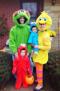 Yes, this is another Sesame Street family. But the costumes look different. Like how the dad is Oscar the Grouch.