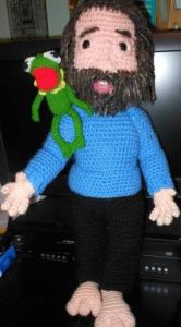 And here he is with a crocheted Kermit at his side. Because Kermit is his first Muppet and signature character.
