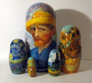 Shows Van Gogh's self-portrait with 4 of his best known paintings. All of which didn't earn him a dime.