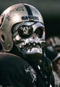 Yes, I know I had to include Raiders fans in this post at some point. Doesn't hurt he he's wearing an autographed helmet, too.