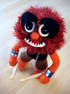 He's all ready to drum at his set for the Electric Mayhem. Still, he can be quite unhinged offstage.