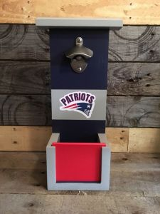 Made from wood and painted in Patriots colors for your desire. Patriots fans would definitely love this.