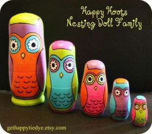 Yes, this is my third owl nesting doll set. But these have different colors on them. So I couldn't pass it up.