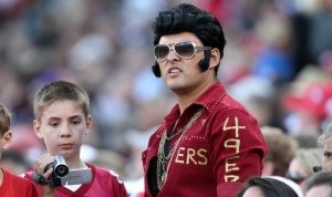 He even has it on his maroon jacket if you know where to look. And I thought Elvis was more of a Titans fan.