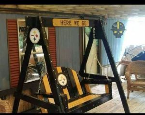 This one is certainly in the black and gold spirit. Definitely the pride of someone in Steeler nation.
