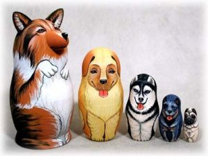 A lot of dog nesting doll sets seem to show single breeds. This one doesn't which is why I put it on this post.