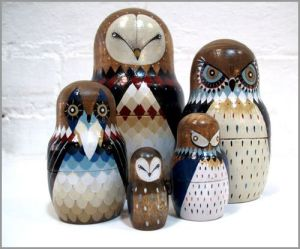 Each owl is painted in a rather stylized fashion. But each is special in its own way. Then again, owl nesting dolls are probably not hard.