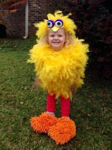 This girl in her Big Bird costume looks like a little chick of yellow fluff. Love her little orange shoes though. So cute.